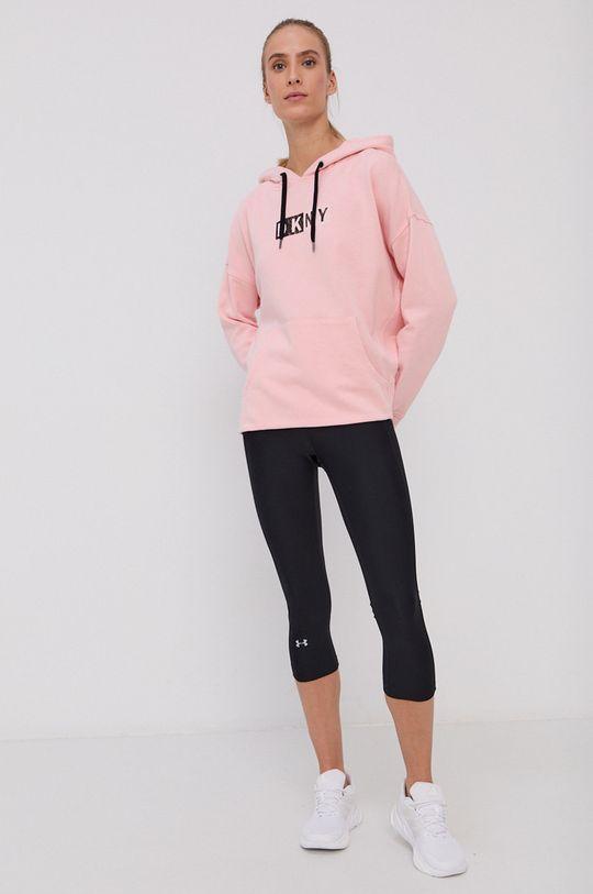 Dkny - Bluza bawełniana pastelowy różowy