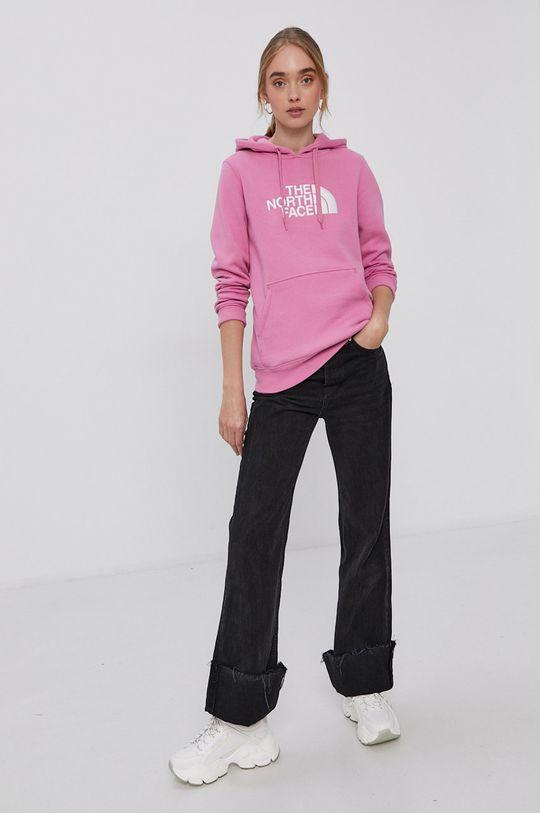 The North Face - Bavlněná mikina růžová