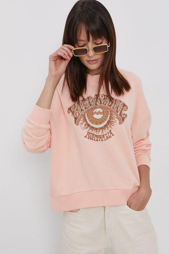 Billabong - Bluza bawełniana pastelowy różowy