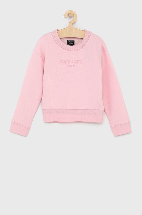pastelowy różowy Guess - Bluza dziecięca Dziewczęcy