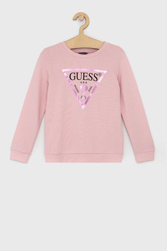 růžová Guess - Dětská bavlněná mikina Dívčí
