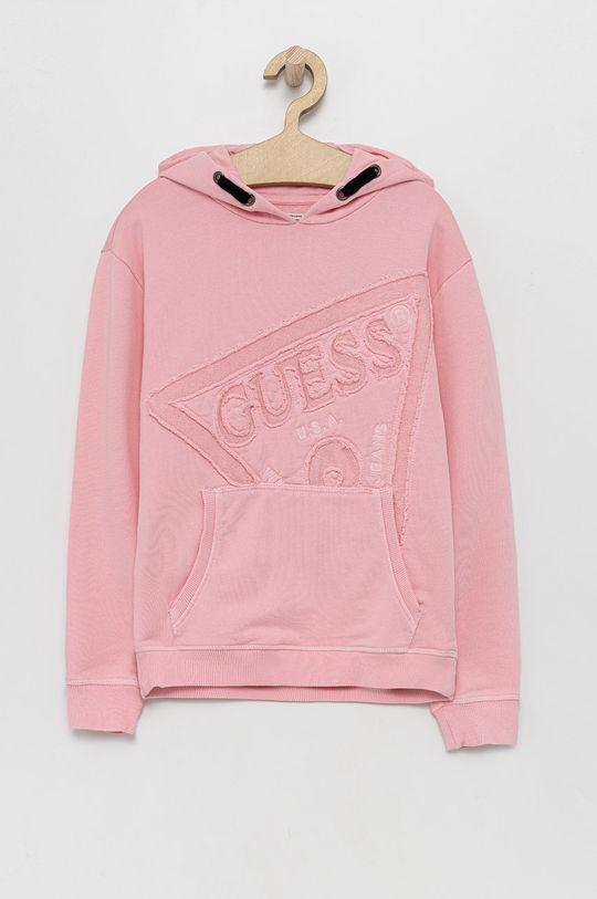 różowy Guess - Bluza bawełniana dziecięca Dziewczęcy