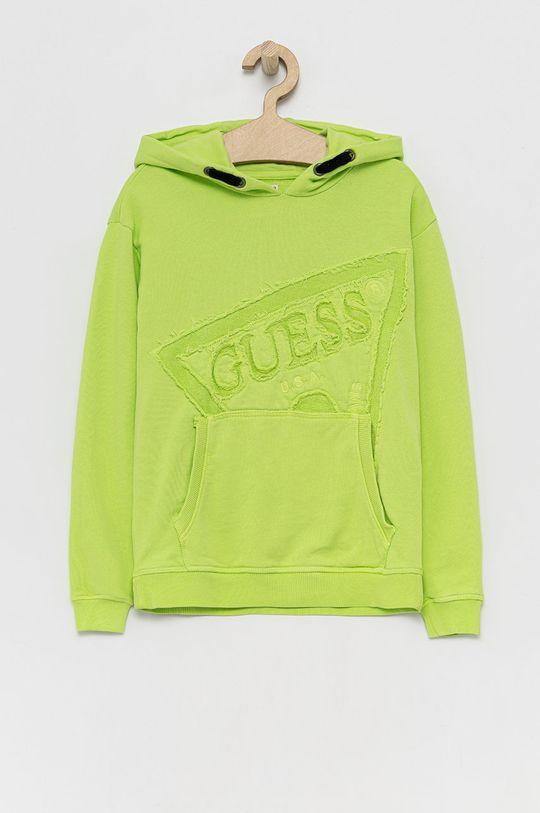 żółto - zielony Guess - Bluza bawełniana dziecięca Dziewczęcy