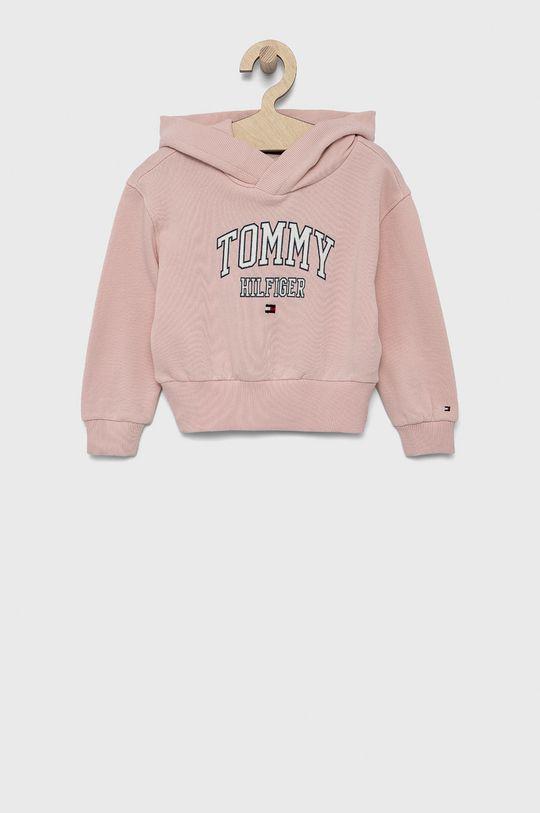 różowy Tommy Hilfiger - Bluza bawełniana dziecięca Dziewczęcy