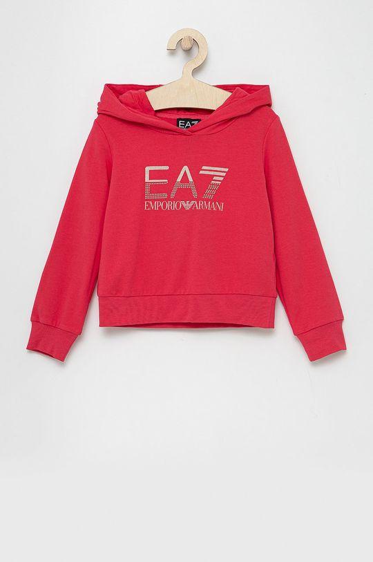 różowy EA7 Emporio Armani - Bluza dziecięca Dziewczęcy