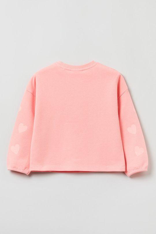 OVS - Bluza bawełniana dziecięca różowy