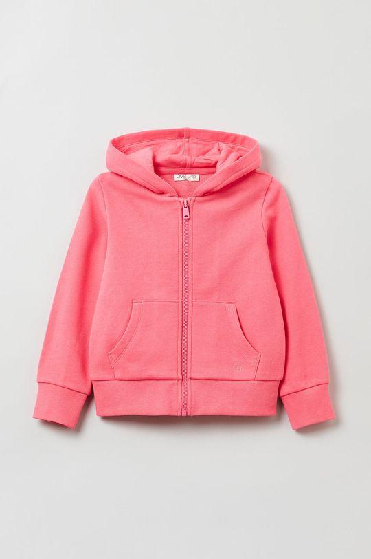 różowy OVS - Bluza bawełniana dziecięca Dziewczęcy