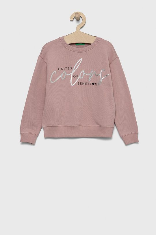 różowy United Colors of Benetton - Bluza bawełniana dziecięca Dziewczęcy