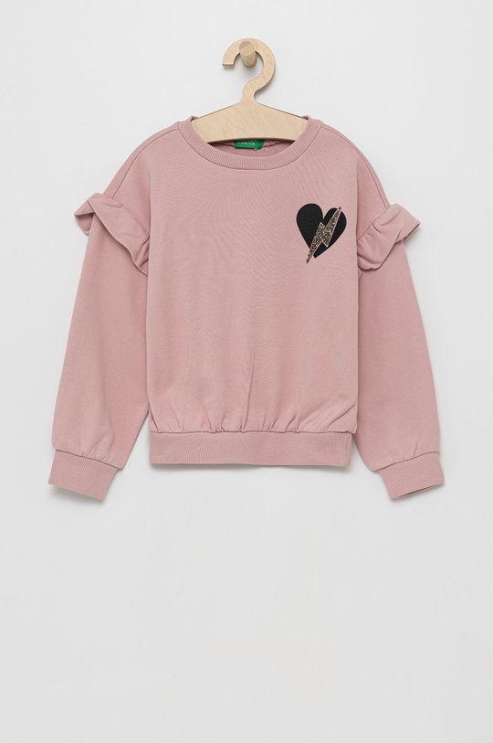 roz United Colors of Benetton - Hanorac de bumbac pentru copii De fete