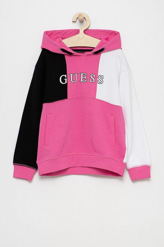 ostry różowy Guess - Bluza bawełniana dziecięca Dziecięcy