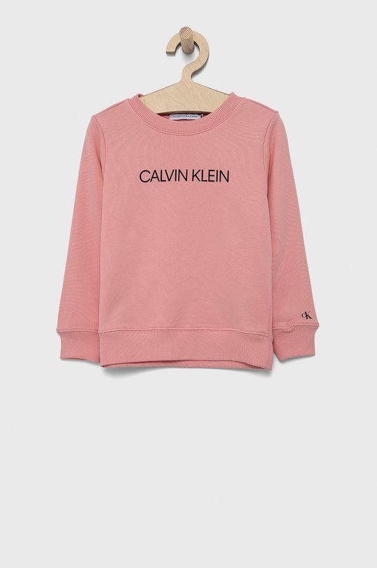 roz Calvin Klein Jeans - Hanorac de bumbac pentru copii De copii