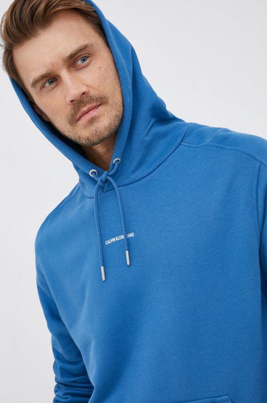 niebieski Calvin Klein Jeans - Bluza bawełniana Męski