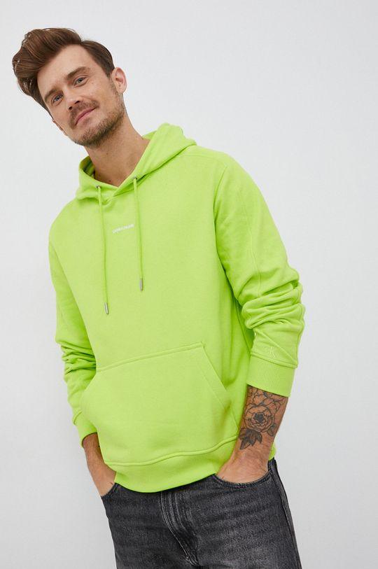 żółto - zielony Calvin Klein Jeans - Bluza bawełniana Męski