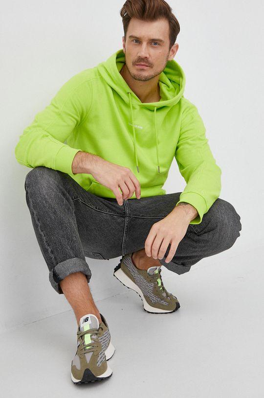 żółto - zielony Calvin Klein Jeans - Bluza bawełniana