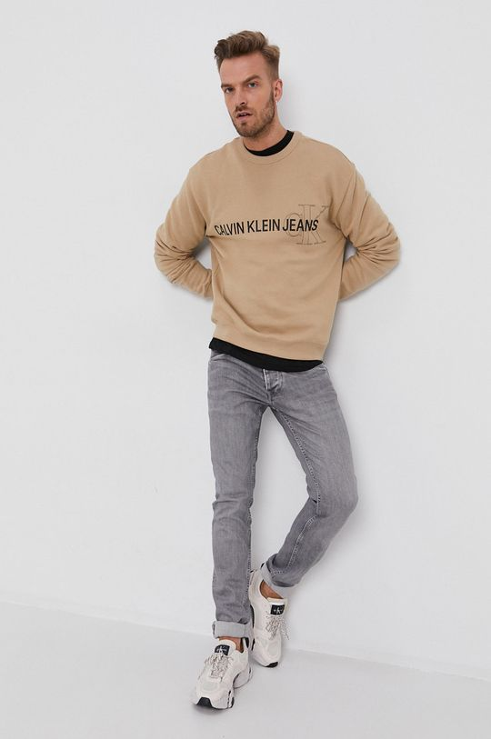 beżowy Calvin Klein Jeans - Bluza Męski