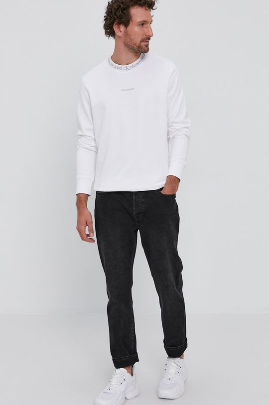 Calvin Klein Jeans - Bavlněná mikina bílá