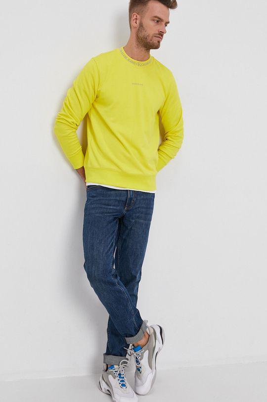 żółty Calvin Klein Jeans - Bluza bawełniana Męski