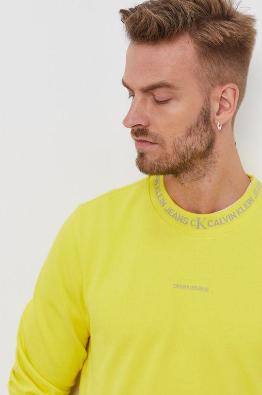 żółty Calvin Klein Jeans - Bluza bawełniana
