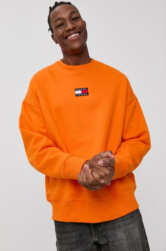 oranžová Tommy Jeans - Bavlněná mikina Pánský