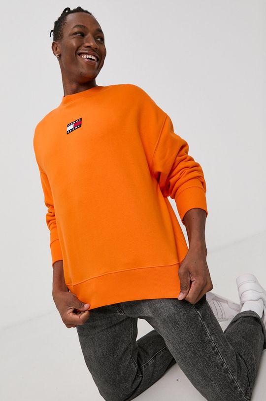 Tommy Jeans - Bavlněná mikina oranžová