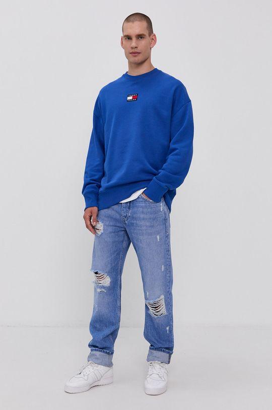Tommy Jeans - Bavlněná mikina modrá
