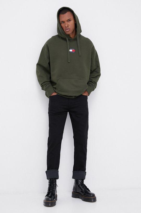 Tommy Jeans - Bavlněná mikina olivová