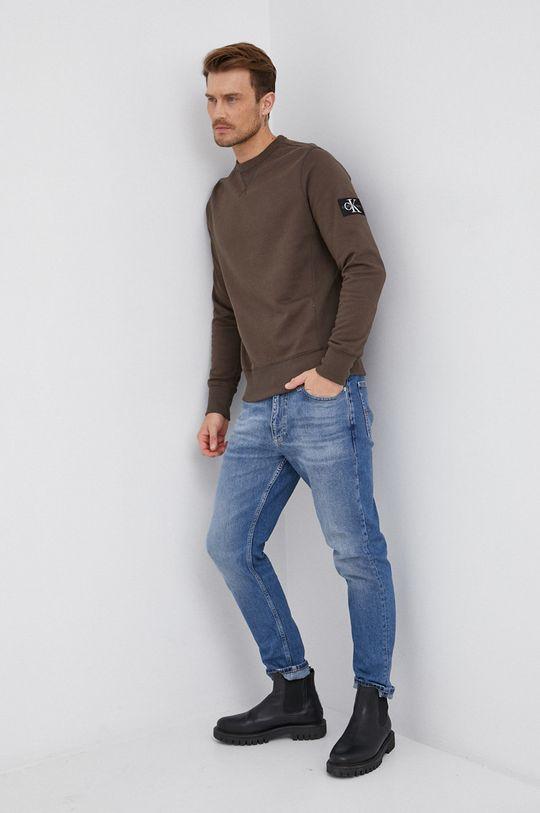 Calvin Klein Jeans - Bavlněná mikina olivová