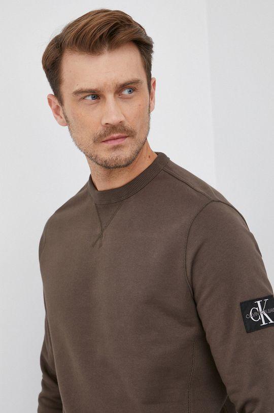 olivová Calvin Klein Jeans - Bavlněná mikina
