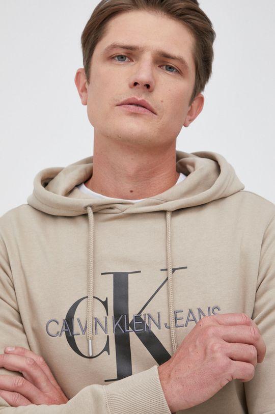 beżowy Calvin Klein Jeans - Bluza bawełniana Męski