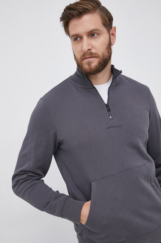 szary Calvin Klein Jeans - Bluza bawełniana Męski