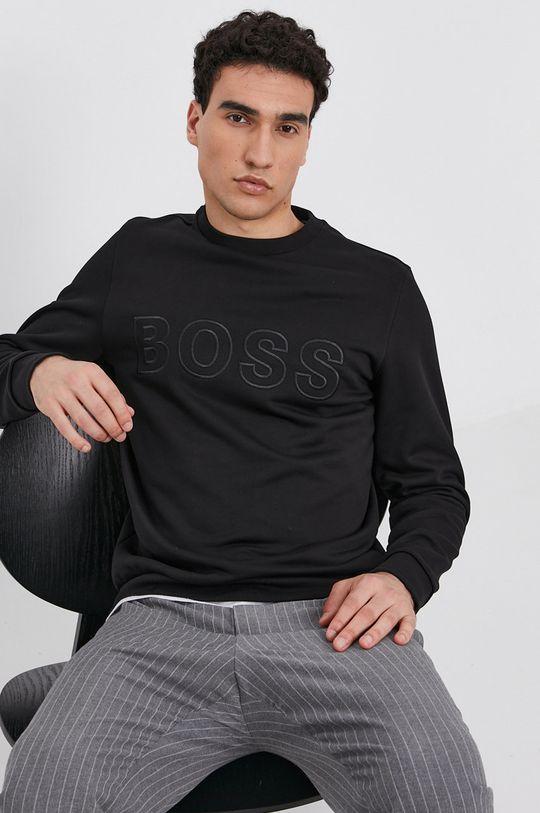 czarny Boss - Bluza bawełniana Męski