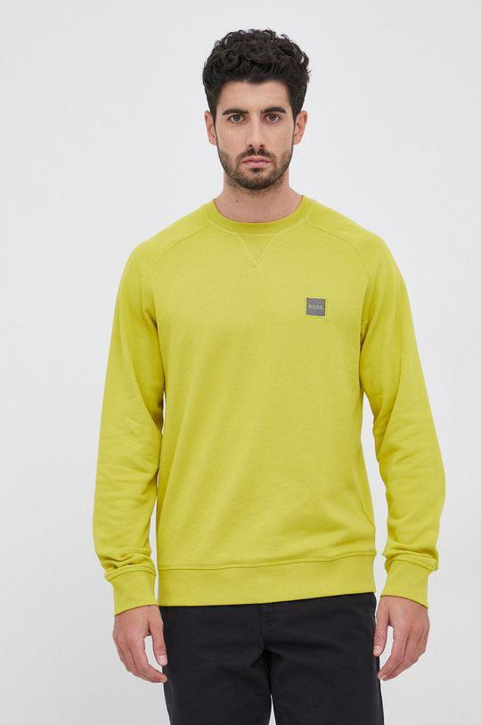 żółto - zielony Boss - Bluza bawełniana Boss Casual Męski