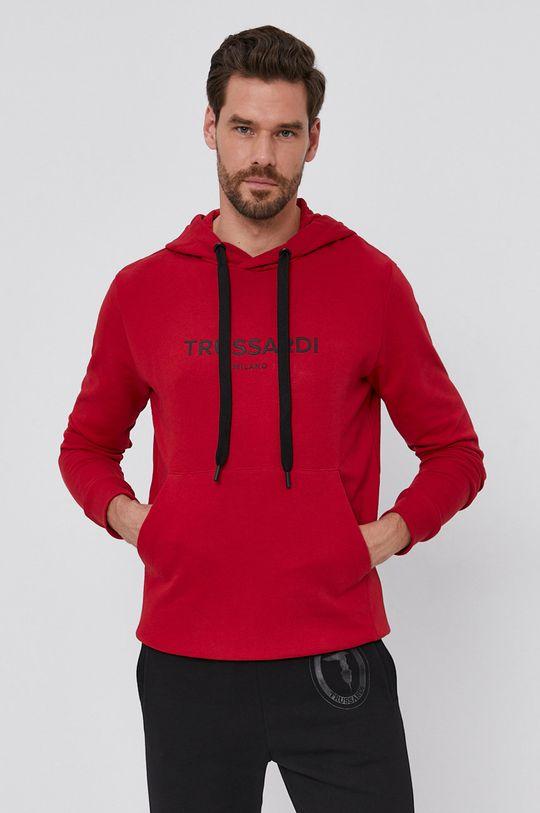 červená Trussardi - Bavlněná mikina Pánský