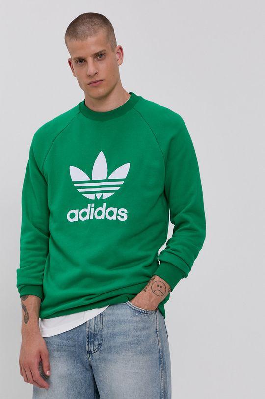 zielony adidas Originals - Bluza bawełniana Męski