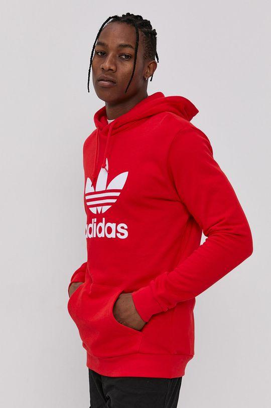 červená adidas Originals - Bavlněná mikina Pánský