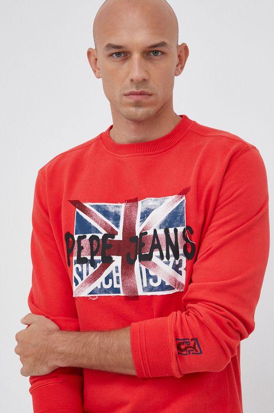 czerwony Pepe Jeans - Bluza bawełniana Jared Męski
