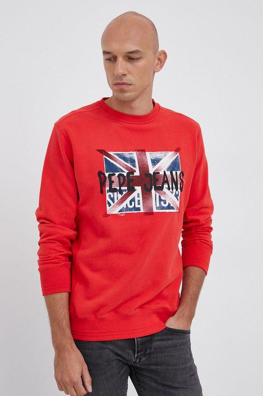 czerwony Pepe Jeans - Bluza bawełniana Jared