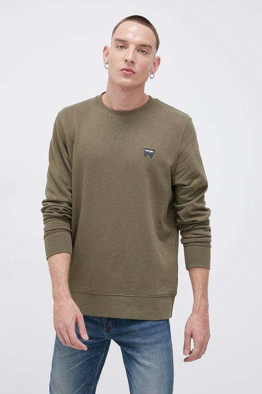 zielony Wrangler - Bluza bawełniana Męski