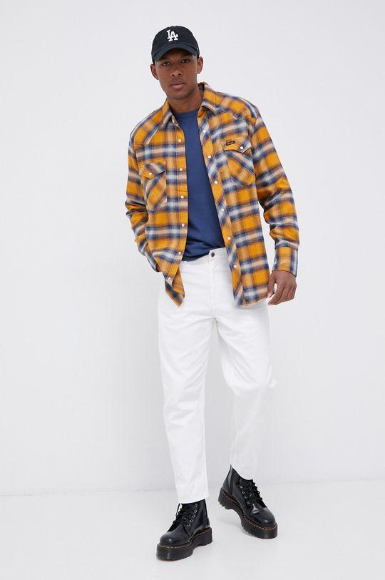 Wrangler - Sweter z domieszką wełny niebieski