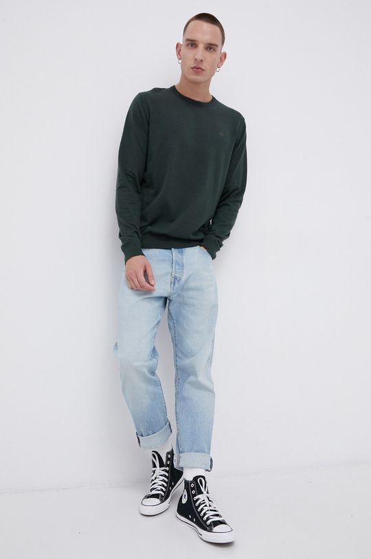 Wrangler - Sweter z domieszką wełny zielony