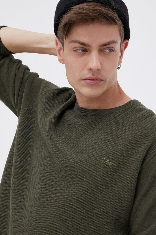 zielony Lee - Sweter bawełniany Męski