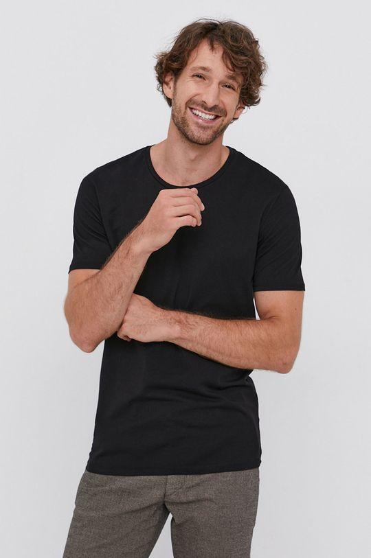 czarny Drykorn - T-shirt bawełniany Carlo Męski
