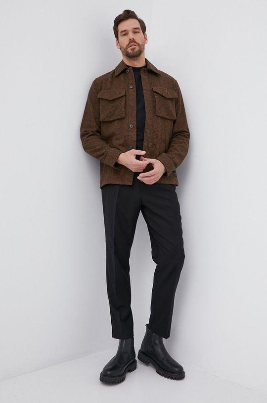 Drykorn - Βαμβακερό πουκάμισο με μακριά μανίκια Linus μαύρο