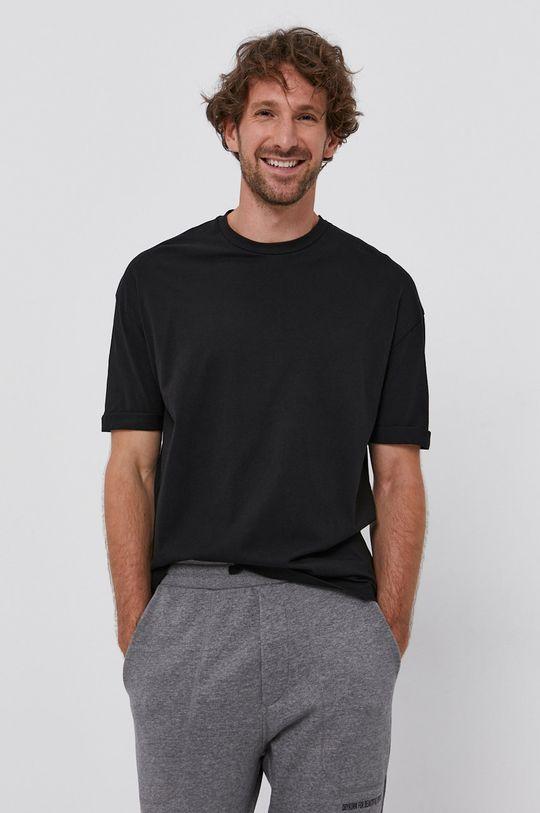 czarny Drykorn - T-shirt bawełniany Thilo Męski