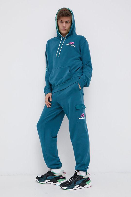 New Balance - Bluza bawełniana stalowy niebieski