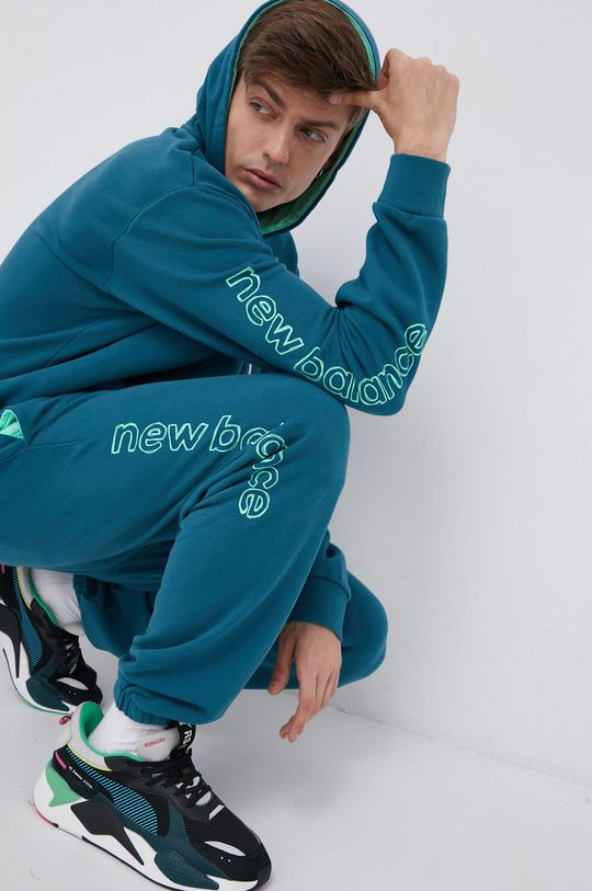 stalowy niebieski New Balance - Bluza bawełniana
