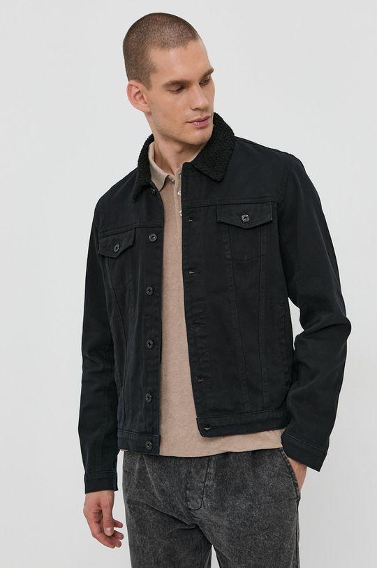 czarny Solid - Kurtka jeansowa Męski