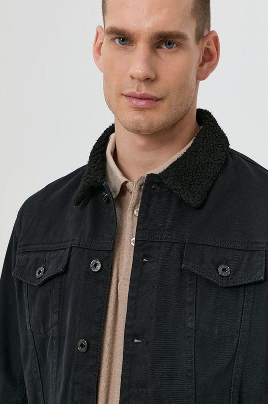 czarny Solid - Kurtka jeansowa