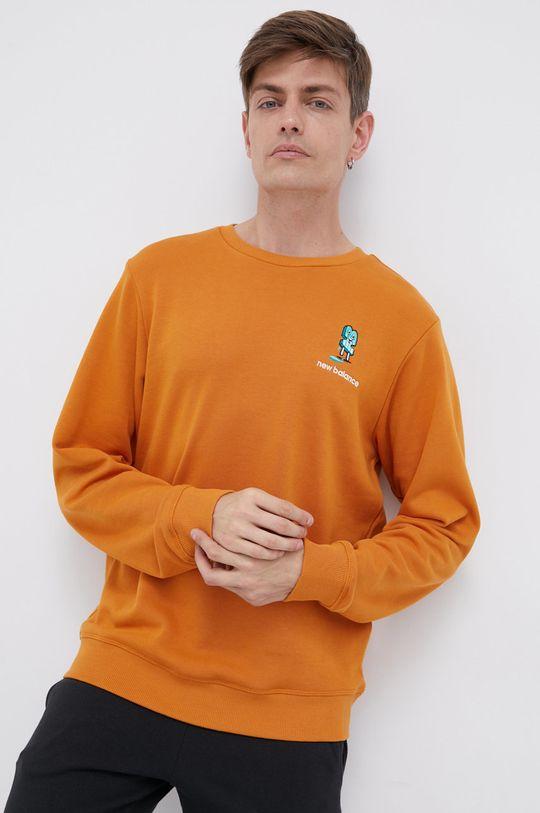 miedziany New Balance - Bluza bawełniana