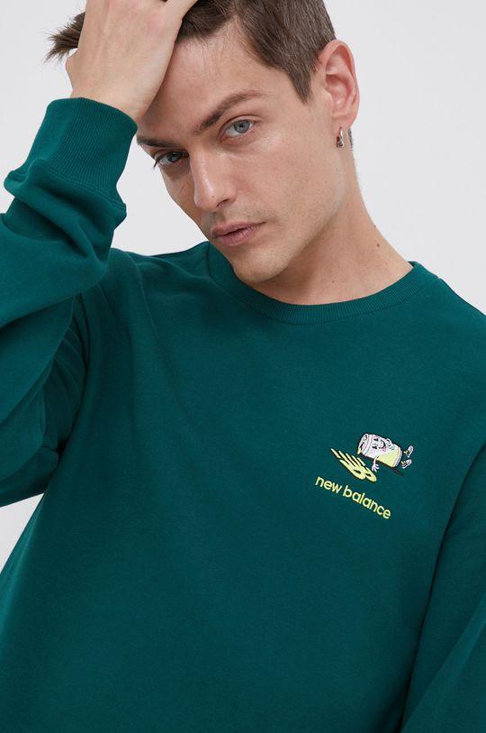 ciemny zielony New Balance - Bluza bawełniana Męski